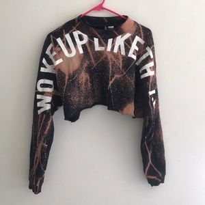 H&m Bleach Dyed Cropped Crew Neck